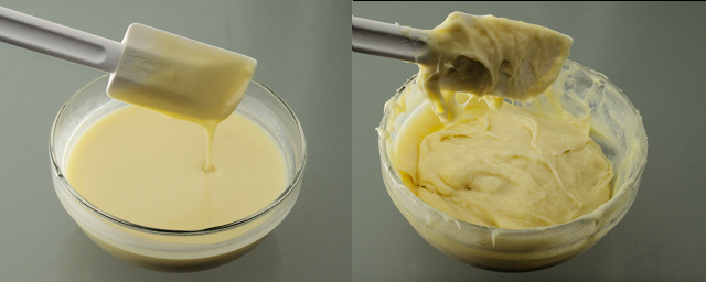 Comparison fluid and sticky ganache