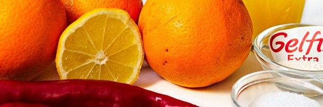 Ingredients for hot orange jam